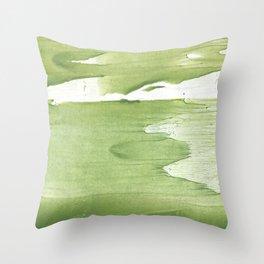 Green khaki clouded wash drawing texture Throw Pillow