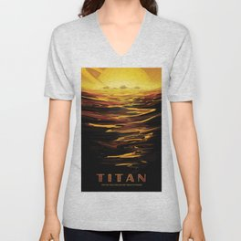 NASA Retro Space Travel Poster #12 - Titan Unisex V-Neck
