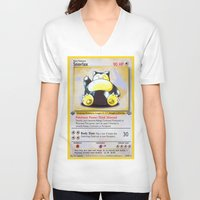 snorlax V-neck T-shirts featuring Snorlax Card by Neon Monsters