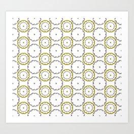 Gold and Silver Rings Polka Dot Pattern Art Print