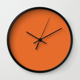 Solid Bright Halloween Orange Color Wall Clock