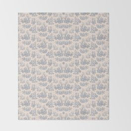 Chevron Toile, Blue / White Throw Blanket