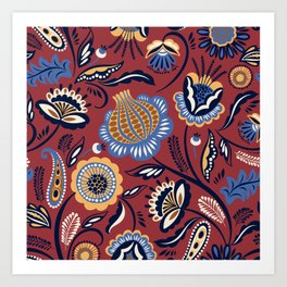 Abstract burgundy navy blue autumn floral Art Print