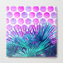 Tropical turquoise palm tree neon pink polka dots Metal Print