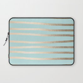 Simply Drawn Stripes White Gold Sands on Succulent Blue Laptop Sleeve