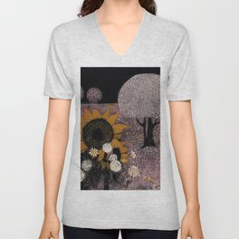 African American Masterpiece Sunflowers, Flowers, & Pear Blossoms landscape painting by W. Williams Unisex V-Neck