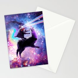 Laser Eyes Outer Space Cat Riding On Llama Unicorn Stationery Cards