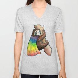 the gay hero sloth Unisex V-Neck