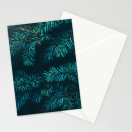 Pine Tree Close Up Neon Green Colorful Leaves Against A Black Background Stationery Cards