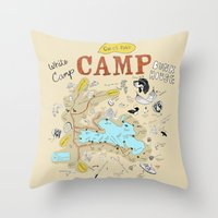 camp Throw Pillows featuring camp by AJE Custom Shop
