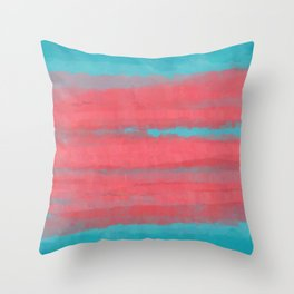 Sunset in Paradise, Minimal Abstract Painting in Coral and Turquoise Colors, Modern Paint Stripes  Throw Pillow