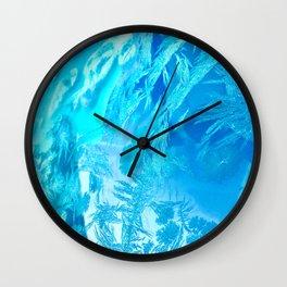 Hoar Frost in Turquoise Wall Clock