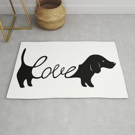 Dachshund love sign, dachshund dog owner illustration Rug