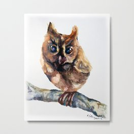 WATERCOLOR BABY OWL WOODLAND ANIMALS NURSERY COLLECTION Metal Print