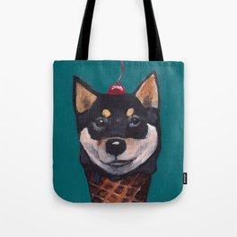 """Cherry on Pup"" Black Tan Shiba Inu Tote Bag"