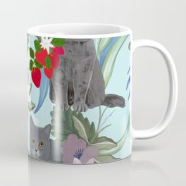 Hand drawn cat with strawberry and tropical flowers pattern Coffee Mug