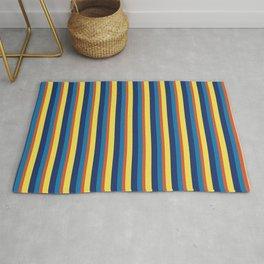zakiaz blue yellow orange stripe Rug