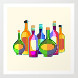 Colored Glass Bottles Art Print