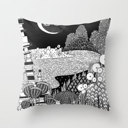 Botanical Doodle 3/3 Throw Pillow
