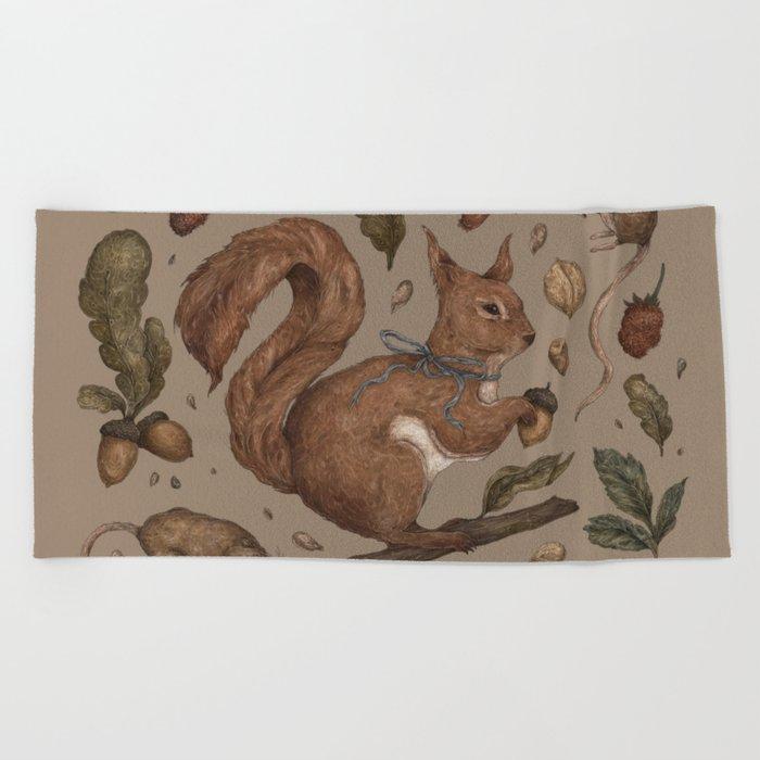 Red Squirrel Beach Towel
