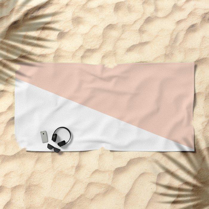 Geometric Blush Pink + White Beach Towel