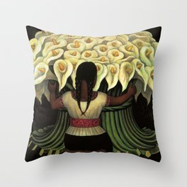 1941 Classical Masterpiece Calla lily 'Flower Seller' by Diego Rivera Throw Pillow