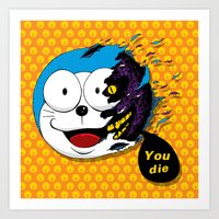 doraemon Art Prints featuring Doraemon dead by pexkung
