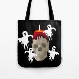 Halloween Skull with candle and ghost monsters Tote Bag
