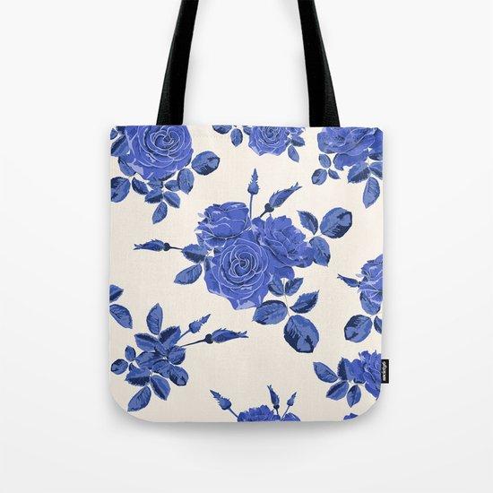 Seamless blue roses pattern Tote Bag