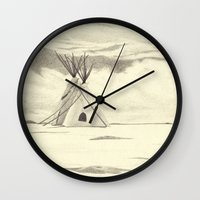 plain Wall Clocks featuring Lonely Plain by Ursula Rodgers