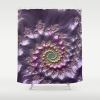 wine Shower Curtains featuring Lilac Wine by Steve Purnell