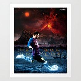 Messi Fire & Ice Art Print