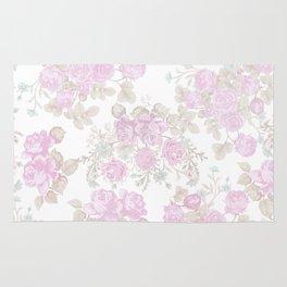 Vintage chic pastel pink green romantic roses floral Rug