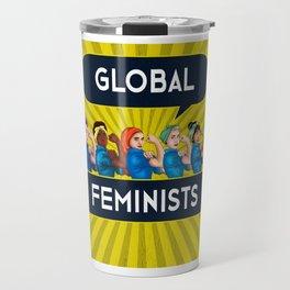 Global Feminists Women Girls design Rosie Riveter Design Travel Mug