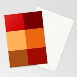 BLOCKS - RED TONES - 2 Stationery Cards