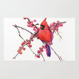 Red Cardinal and Berries Rug