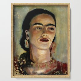 Portrait of Frida the Dove Serving Tray