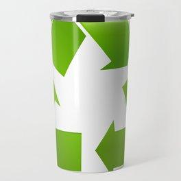 Green Recycle symbol on white background Travel Mug