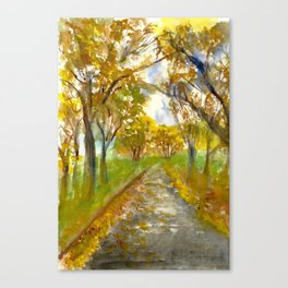 The Street With The Yellow Leaves Canvas Print
