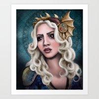 khaleesi Art Prints featuring The Dragon Queen by asdfhd