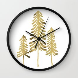 Pine Trees – Gold Palette Wall Clock