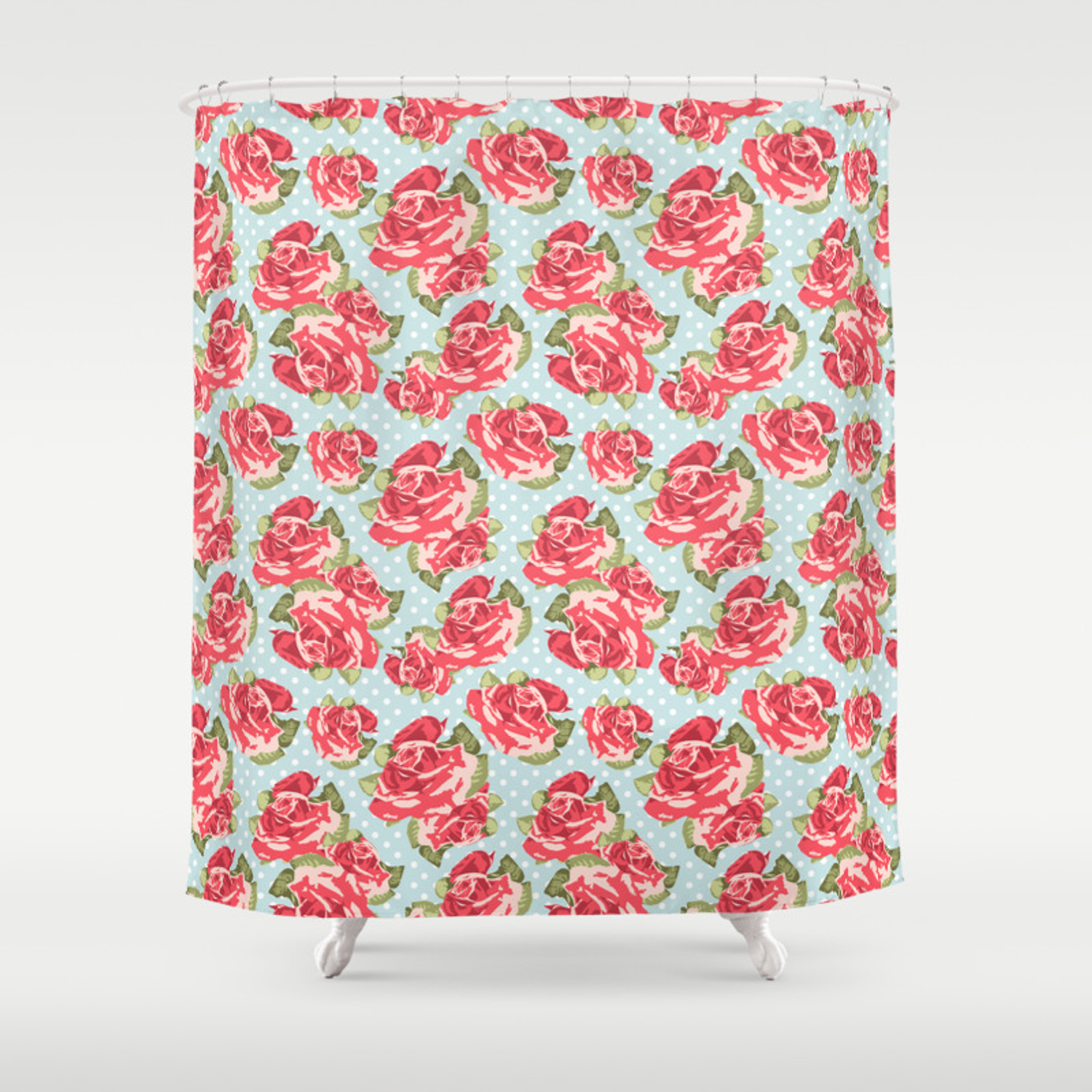 English Roses Blue Polka Dots Shower Curtain By Queenofcases Society6
