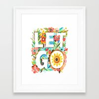 let it go Framed Art Prints featuring Let Go by Katie Daisy