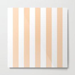 Feldspar pink - solid color - white vertical lines pattern Metal Print