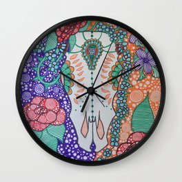 Day Of The Dead Cow (Purple & Orange) Wall Clock