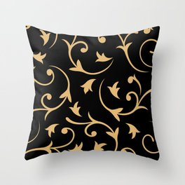 Baroque Design – Gold on Black Throw Pillow