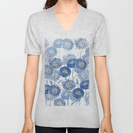 blue indigo dandelion pattern watercolor Unisex V-Neck