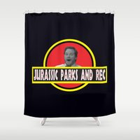 parks Shower Curtains featuring Jurassic Parks And Rec by anthonykun