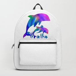 Rainbow Dolphins swimming in the sea Backpack
