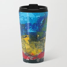 Lucas Abstract Painting Blue Black Yellow Metal Travel Mug